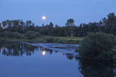 Moonrise over River Ruhr Stock Photo