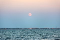 Moonrise over sea Royalty Free Stock Image