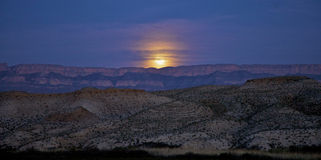 Moonrise over Sierra del Carmen Mountains Stock Photography