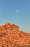 Moonrise Over Valley of Fire Red Rocks Royalty Free Stock Images