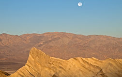 Moonrise over zabriskie point Royalty Free Stock Images