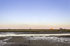 Moonrise at Ria Formosa wetlands natural park landscape, view fr Royalty Free Stock Photo