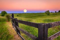 Moonrise. Scenic moonrise in the Bluegrass region of Kentucky stock images