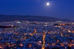 Moonrise sobre Atenas Fotografia de Stock Royalty Free