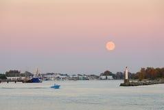 Moonrise Steveston Harbor, Richmond, BC Royalty Free Stock Image