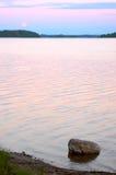 Moonrise sul lago Seliger Fotografia Stock