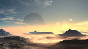 Moonrise And Sunrise On An Alien Planet stock video footage