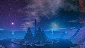 Moonrise (UFO) over the base of aliens. Several cone-shaped towers stand on a circular platform. Around the high walls of a fortress. Between the towers and stock video footage