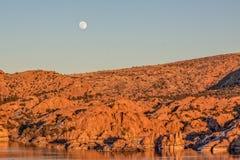 Moonrise at Watson Lake Royalty Free Stock Photo