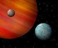 Moons orbiting a reddish gas giant. Horizontal Royalty Free Stock Photo