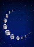 Moons and stars background Stock Image