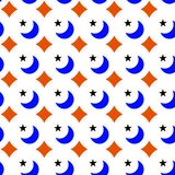 Moons Stars Geometric Seamless Texture. Blue moons and stars with orange diamonds background. Geometric seamless texture pattern Stock Images