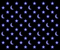 Moons and stars pattern. Glowing moons and stars pattern on a black sky background Stock Images