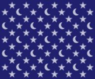 Moons and stars pattern. Glowing moons and stars pattern on a dark blue sky background Stock Photos