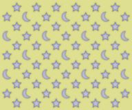 Moons and stars pattern. Glowing moons and stars pattern on a light yellow background Stock Photo