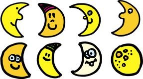 Moons vector set. Eight smiling vector moons on white background Royalty Free Stock Image