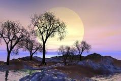 大moonscape 免版税图库摄影