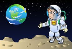 Moonscape avec l'astronaute de dessin animé Photo libre de droits