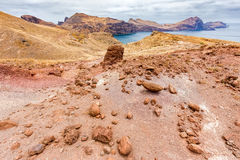 Moonscape lunar landscape with rocks on island Madeira. In Portugalf stock image
