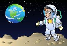 Moonscape mit Karikaturastronauten Lizenzfreies Stockfoto