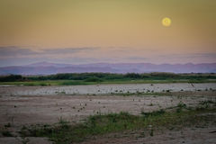 Moonscape over Tsiribihina river in Madagascar Royalty Free Stock Photography