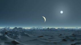 Moonset auf ausländischem Planeten vektor abbildung