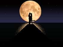 Moonset Couple. Illustration of a couple kissing against a setting moon Stock Image