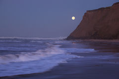 Moonset at Half Moon Bay Stock Image