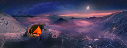 Moonset in the high mountains Stock Photo