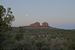 Moonset over Cathedral Rock Stock Images