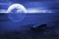 Moonset over the sea stock illustration
