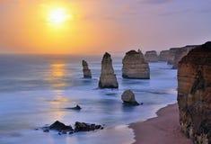 Moonset over Twelve Apostles in Victoria Stock Image
