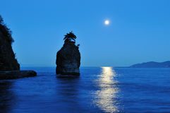 Moonset at siwash rock, stanley park Royalty Free Stock Photography