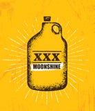 Moonshine Jug Pure Original Corn Spirit Creative Artisan Illustration. Raw Homemade Alcohol Creative Sign. On Rough Distressed Background vector illustration