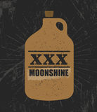 Moonshine Jug Pure Original Corn Spirit Creative Artisan Illustration. Raw Homemade Alcohol Creative Sign. On Rough Distressed Background royalty free illustration