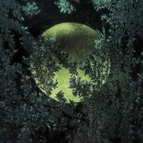 Moonshine. Moon through the frozen window Stock Image