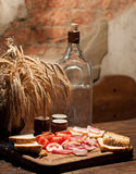 Moonshine, snack and ears Stock Images