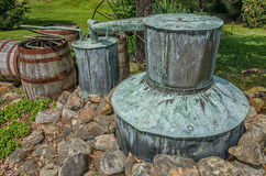 Moonshine still, Tennessee. An old copper moonshine still located in the hills of Tennessee Royalty Free Stock Images