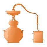 Moonshine and whiskey. Copper alambik royalty free stock photo