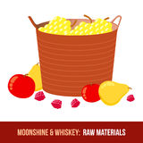 Moonshine and whiskey. Harvest raw materials Stock Images