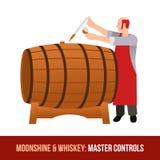 Moonshine and whiskey. Oak barrel. Stock Photography