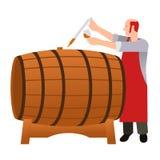 Moonshine and whiskey. Oak barrel. Royalty Free Stock Images