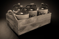Moonshine In Wooden Crate. A 3D render of a collection of five vintage moonshine jugs in a wooden carry crate on an isolated sepia studio background stock image