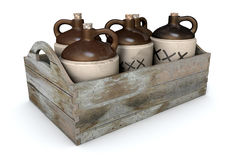 Moonshine In Wooden Crate. A 3D render of a collection of five vintage moonshine jugs in a wooden carry crate on an isolated white studio background stock image