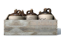 Moonshine In Wooden Crate. A 3D render of a collection of five vintage moonshine jugs in a wooden carry crate on an isolated white studio background stock photos