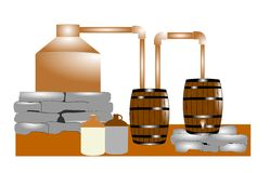 Moonshiners still. Still that is used to make moonshine  in southern states Royalty Free Stock Photo