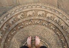 Moonstone en Polonnaruwa Foto de archivo libre de regalías