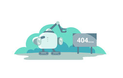 Moonwalker stopped opposite the sign 404 error. cute Illustration for error page 404 not found Stock Images