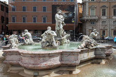 The Moor Fountain Navona Stock Photo