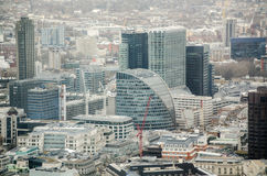Moor House and City of London. Aerial view of the City of London with the curve topped Moor House in the centre.  Its foundations are the deepest in the City as Royalty Free Stock Photo